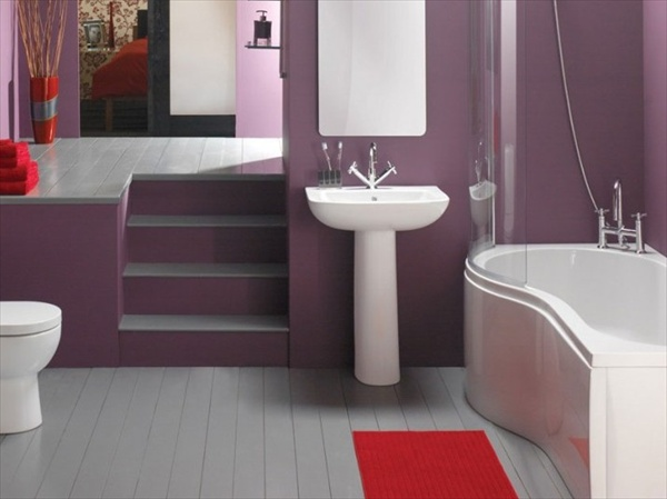 purple small bathroom design ideas