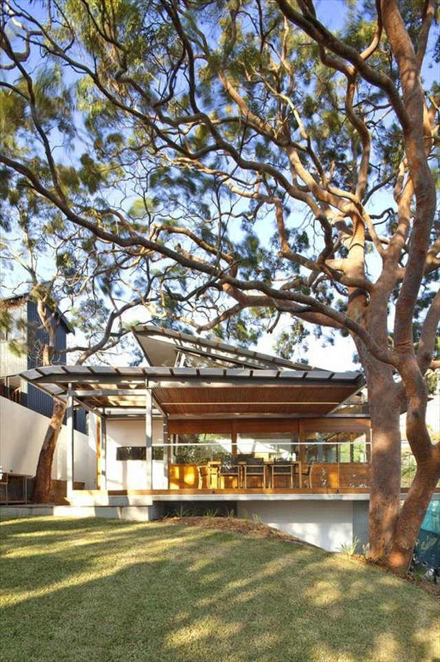 Modern House Design with Angled Roof and Wavy Ceiling