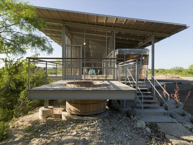 Locomotive Ranch Trailer House in Texas by Andrew Hinman Architecture
