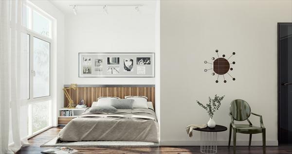 bedroom with flower pot idea