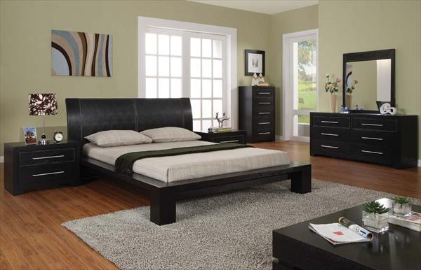 black bedroom with white mattress