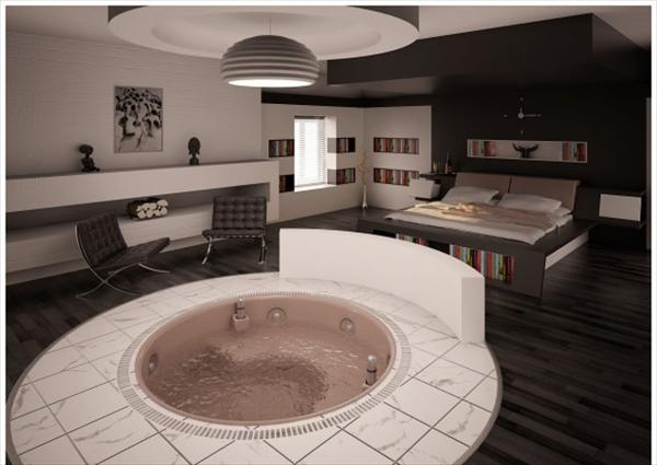 modern bedroom bathroom idea