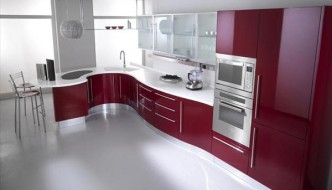 modern kitchen in pink theme