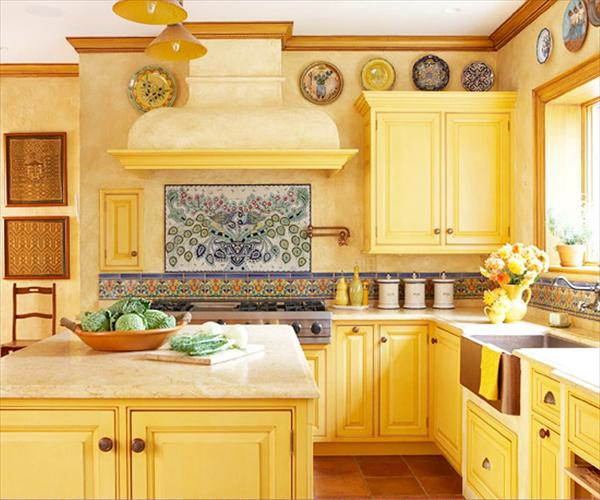 modern kitchen in yellow theme