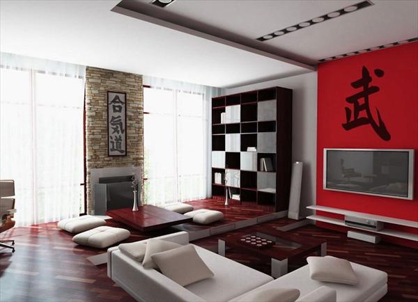 half red living room idea