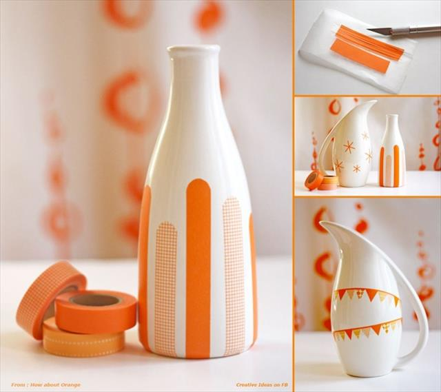 Decorate your inexpensive blank vases with masking tape