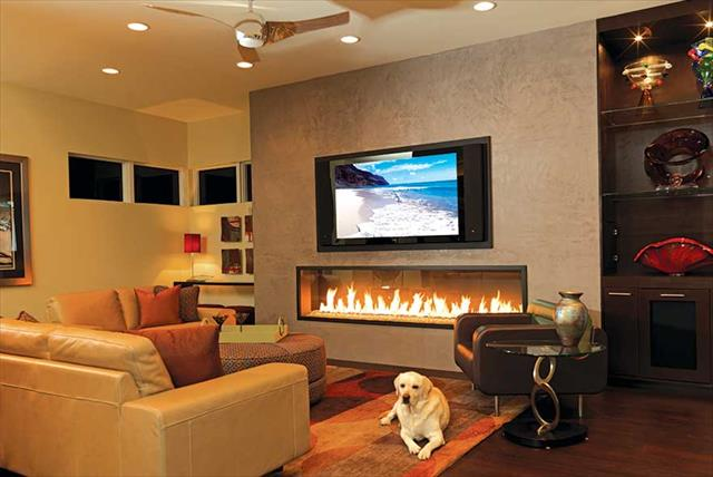 modern living room and fireplace design